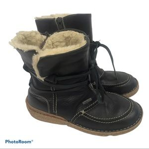 Josef Seibel Black Leather Winter Shearling Boots
